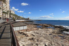 View from Torrevieja, Spain. Coastline and promenade beside the Mediterranean, Costa Blanca, Spain Royalty Free Stock Photo