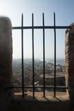 View of Tortosa with Cathedral through the bars of the Sudacastl Royalty Free Stock Image