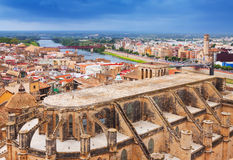 View of Tortosa with Cathedral from Suda castle Royalty Free Stock Photos