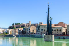 View of Tortosa from the Ebro river, Spain Royalty Free Stock Photography