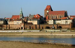 View of Torun. From left shore of Vistula river Stock Photos