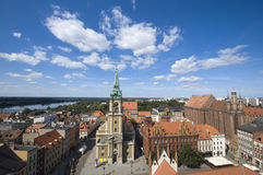 View of Torun. Panoramic view of Torun taken from the tower of the town hall, Poland Royalty Free Stock Photography