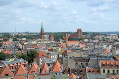 The view of Torun from tower of town hall. Stock Images