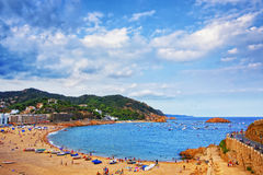 View of Tossa De Mar and city bay at stormy weather Stock Photo