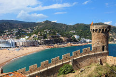 View of Tossa de Mar village. View of Tossa de Mar village from old castle, Costa Brava, Spain Royalty Free Stock Image
