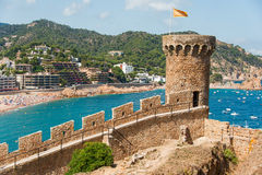 View of Tossa de Mar village from ancient castle Stock Photo