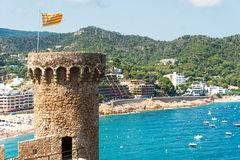 View of Tossa de Mar village from ancient castle Spain Stock Photos