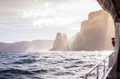 View from tour boat on Tasman Island, Tasmania, Australia Stock Photo