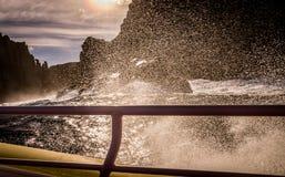 View from tour boat on Tasman Island, Tasmania, Australia Stock Photos