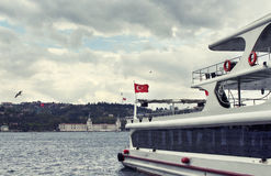 View of tour boat / yacht parked in Kurucesme Royalty Free Stock Image