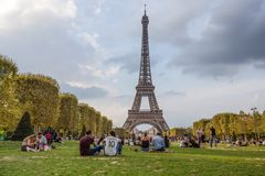 View of Tour Eiffel from Champ de Mars in Paris, France. stock photo
