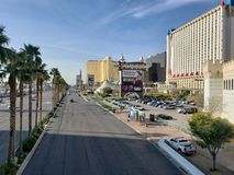 view of the tourist area on the main avenue of the city of Las Vegas, Nevada at day royalty free stock image