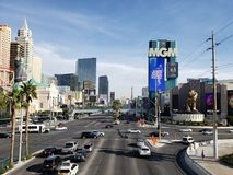 View of the tourist area on the main avenue of the city of Las Vegas, Nevada at day. Travel and tourism in the United States of America, style and design in stock photo