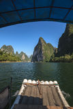 View from tourist boats on the Li river Stock Photos