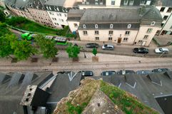 View of a tourist sightseeing train in Luxembourg City. Stock Image