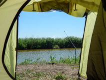 View from tourist tent on the fishing Royalty Free Stock Photography