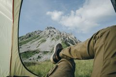 View from tourist tent inside on the mountain landscape in Monte Royalty Free Stock Photography