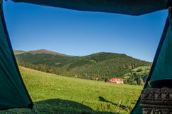 The view from tourist tent on mountains in the Ukrainian Carpathians Stock Photos