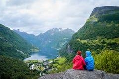 View of the tourist village Geiranger, Norway Stock Photos