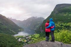View of the tourist village Geiranger, Norway Royalty Free Stock Photo