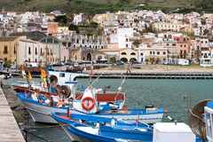 View of touristic harbour. Daylight view of harbour with fishing boats of Castellammare del Golfo town, Sicily, Italy Stock Photo