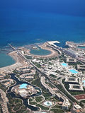 View on the touristic resort and Red Sea from an airplane Royalty Free Stock Photo