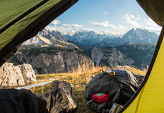 View from touristic tent to mountain valley Royalty Free Stock Images