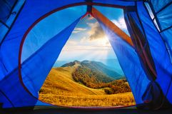 View from tourists tent to the autumn mountain valley Stock Photography