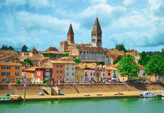 View of Tournus, a beautiful village. Of Burgundy stock image