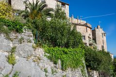 View of Tourrettes-sur-Loup. A medieval village in the Alpes-Maritimes department in southeastern France Royalty Free Stock Photography