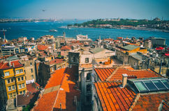 View towards Blu Mosque from the Galata Tower Stock Photography