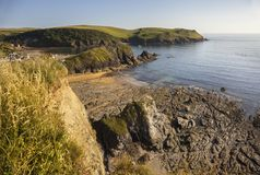 View towards Bolt Tail from Hope Cove, Devon, England Royalty Free Stock Photography