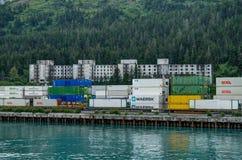 View towards Buckner Building in Whittier from Ferry in Alaska U stock photography