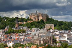 View towards the castle of Marburg royalty free stock image