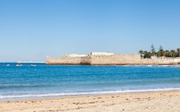 The View Towards the Castle of Santa Catalina in Cadiz. The view across La Caleta beach towards the castle of Santa Catalina in Cadiz, Spain Royalty Free Stock Photos