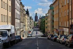 View towards City Hall in Stockholm. On Hantverkargatan at Kungsholmen in Stockholm Royalty Free Stock Photos