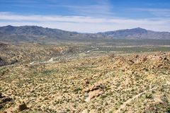View towards Cottonwood Visitor Center and the campground from Mastadon Peak, Joshua Tree National Park, California stock photography