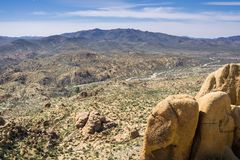 View towards Cottonwood Visitor Center and the campground from Mastadon Peak, Joshua Tree National Park, California royalty free stock photography