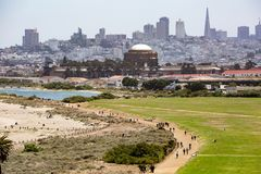 View towards Crissy Field; financial district in the background,. View towards Crissy Field financial district in the background Stock Photography