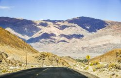 View towards Death Valley National Park from the newly rebuilt Whitney Portal Road, Eastern Sierra Mountains, California royalty free stock photo