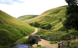 View towards Edale from Jacob`s Ladder. Peak District National Park stock images