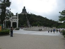 View from Ngong Ping Piazza towards Tian Tan Buddha, Lantau island, Hong Kong royalty free stock image