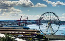 View towards ferris wheel in Seattle Washington United States of. America. Photo taken in United States of America Royalty Free Stock Photography