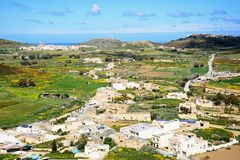 View towards Ghasri, Gozo. Elevated view towards Ghasri and Marsalforn and surrounding countryside seen from the citadel, Victoria Rabat, Gozo, Malta, Europe Stock Photos