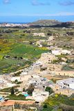 View towards Ghasri, Gozo. Elevated view towards Ghasri and Marsalforn and surrounding countryside seen from the citadel, Victoria Rabat, Gozo, Malta, Europe Royalty Free Stock Images