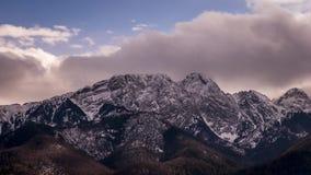 View towards Giewont Peak in Polish Tatra Mountains - time lapse video 30fps stock footage