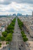 View towards Grande Arche de la Defense Paris Avenue de la Grand royalty free stock photo