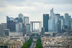 View towards Grande Arche de la Defense Paris downtown royalty free stock photo