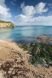 View Towards Gribbin Head from Porthpean beach, Cornwall royalty free stock images