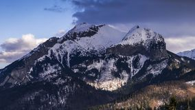 View towards Havran Peak in Tatra Mountains in Slovakia - time lapse video 50fps stock video